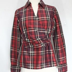 Talbots Plaid Silk Shirt sz 4 Women